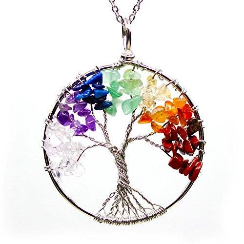 "Rainbow Crystal Tree of Life Necklace 30"" Chain. Wire Wrapped Reiki Balancing Gift"