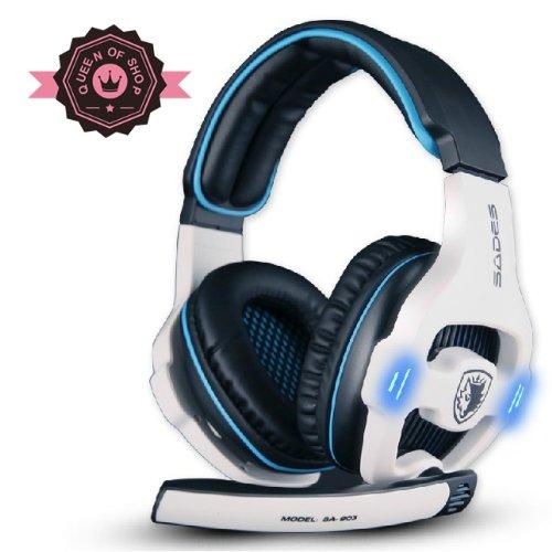 Sa-903 7.1 Sound Effect Usb Gaming Headset Headphone Earset Earphone With Microphone White / Blue
