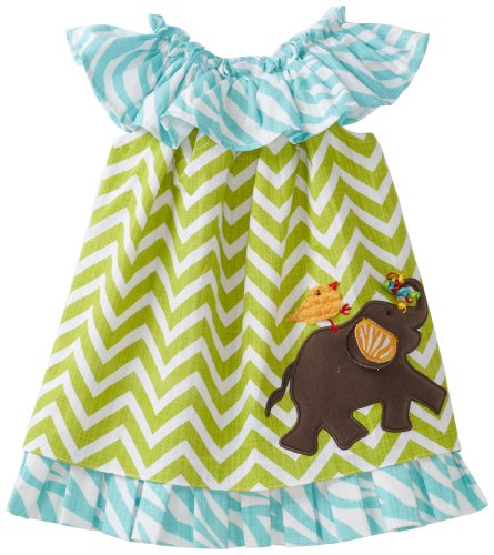 Mud Pie Baby-Girls Safari Elephant Dress, Multi, 2T-3T