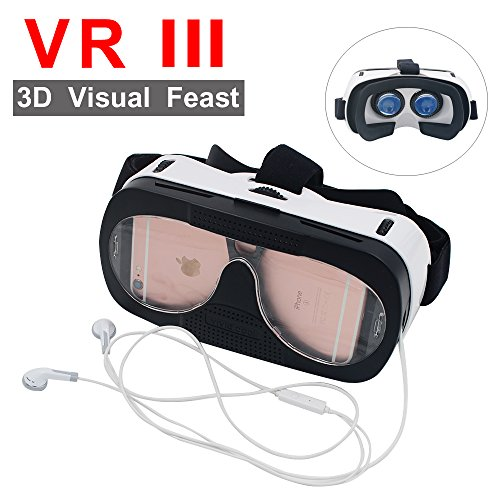 Virtual Reality 3D Glasses,Somuns Adjustable Head Mount Helmet Goggles VR for 3D Video Movie Game Fit 4-6inches iPhone Samsung Galaxy Cellphones