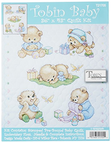Tobin Baby Bears Quilt Stamped Cross Stitch Kit, 34 by 43-Inch (Baby Quilts Stamped Cross Stitch compare prices)