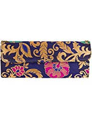 JaipurSe Blue/Golden Clutch Bag/Purse Party Wear Ladies Evening Clutch Handbag With Drop-in Chain Shoulder Strap...
