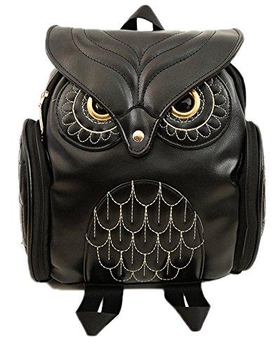 EASYLOVE gufo Animal Style Zaino carino Zaino in pelle vera per ragazze donne borsa di scuola