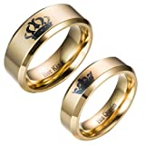 Kalapure Her King and His Queen 14K Gold Plated Titanium Stainless Steel Ring, Promise Wedding Band Ring Anniversary Engagement