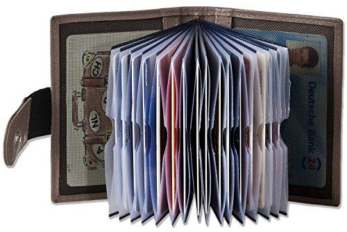 Platino - Custodia per carte di credito-XXL con 18 tasche di carta di morbida pelle trattata con marrone / grigio (taupe)