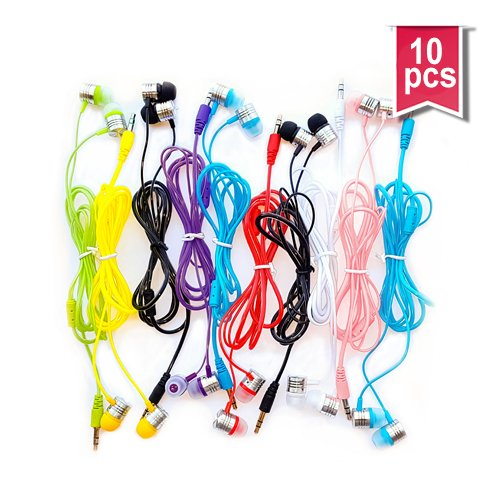 Life.Idea 3.5mm Color Earphones - Package of 10 Pairs, 8 Different Colors, Metal Like Earbuds, Cool and Stylish, Wholesale Bundle, Wide Compatibility (8 Colors/10 pcs) (Cool Headphones Cheap compare prices)