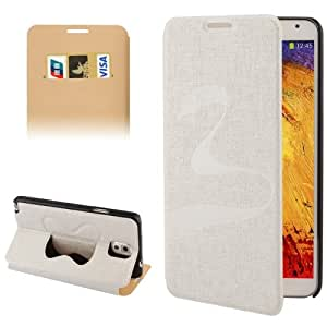 Oracle Texture Embossing Pattern Leather Case with Credit Card Slots & Butterfly Holder for Samsung Galaxy Note 3 N9000 (White)
