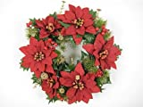 Christmas Artificial Flowers Velvet Poinsettia Pine Berries Wreath (28cm) from GT Decorations