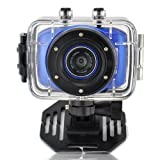 MAYMOC Sports Action Cam Camcorder Helmet Cameras 720P HD Waterproof 2 Inch Touch Screen with 8G TF Memory Card (Blue)