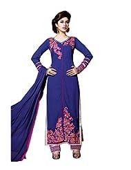 Mantra Fashion Splendid Blue Pure Georgette Straight Salwar Kameez