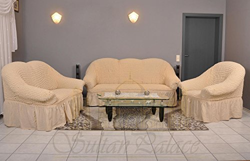 Stretch Sofabezüge 1er+2er+3er (Sesselbezug, Sofabezug, in der Farbe naturell)