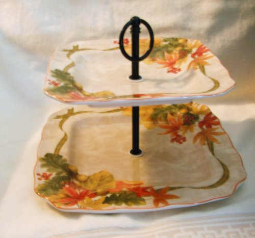 222 Fifth International Autumn Celebration Fall Fine China Two Tier Serving Tray