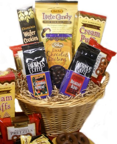 Coffee and Chocolate Lovers Gourmet Food Gift Basket - A Valentine's Day Gift Idea!