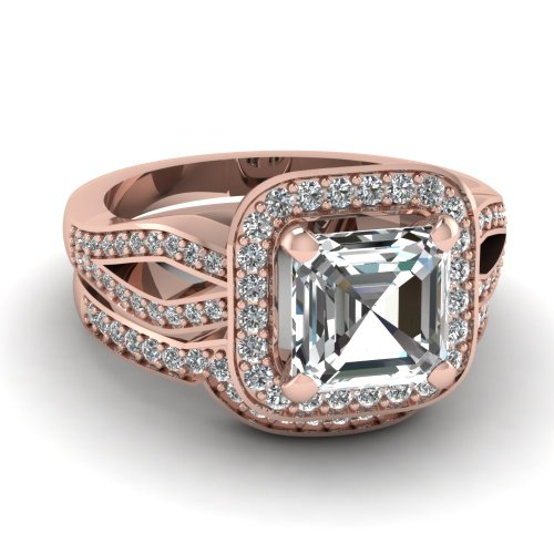 Fascinating Diamonds 1.25 Ct Asscher Cut Diamond Delightful Engagement Wedding Rings Set Si1 14K Gia