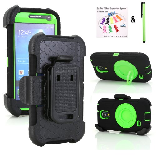 New Supper Rugged Shock-Proof Hybrid Swivel Ring Kickstand Case W/ Belt Clip Holster For Samsung Galaxy S4 Mini Only With Verizon, Sprint, U.S. Cellular (Black/Green/Black & Free Stylus & Fishbone Earphone Cord Organizer)