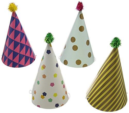 Talking Tables - Cappellini di carta per feste, modello: Party Time, 4 pezzi, 33 cm
