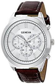 Geneva Men's 8182A-GEN Watch with Brown Croco-Embossed Band
