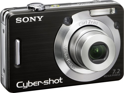 Sony Cybershot DSCW55 7.2MP Digital Camera with 3x Optical Zoom (Black)