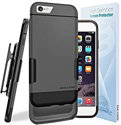 iPhone 6S Ultra Slim [CASE & CLIP Combo] Soft-touch Slider Shell + Belt Clip Holster (Includes HD Screen Guard) Encased (Gray/Black)