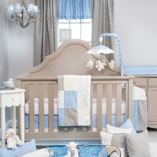 Glenna Jean Starlight 3 Piece Crib Bedding Set, Blue/White/Grey/Silver Metallic