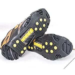 【ノーブランド品】靴底用滑り止めスパイク(替えピン3個付き)滑らない 携帯 靴用ゴム底 かんじき アイゼン スノー アイススパイク (M/23.5cm-26.0cm)