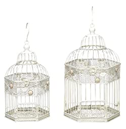 Deco 79 Metal Bird Cage, 17-Inch and 14-Inch, Set of 2