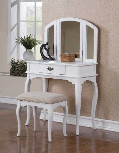 Vanity w/ Stool, White By Poundex
