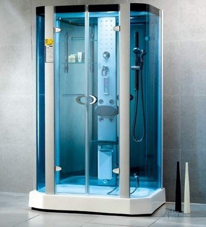 LineaAqua Romeo 53 x 34 Steam Shower Enclosure Freestanding with Blue Curved Glass and 4 Body Sprays, Hand Shower, Rain Shower - FREE SHIPPING!!!