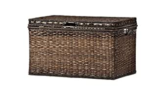 Brown Wicker Storage Trunk Coffee Table Rattan Storage