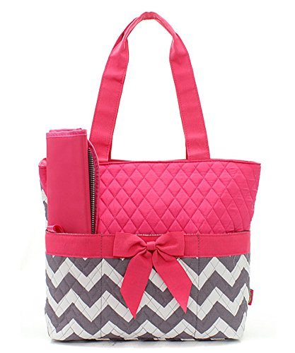 Quilted Hot Pink And Grey/White Chevron Print Monogrammable 3 Piece Diaper Bag With Changing Pad Tote Bag