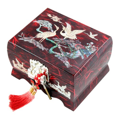 Mother of Pearl Musical Bird Design Wooden Girls Jewellery Mirror Trinket Keepsake Treasure Gift Music Asian Lacquer Box Case Chest Organizer with Crane and Pine Tree in Red Mulberry Paper