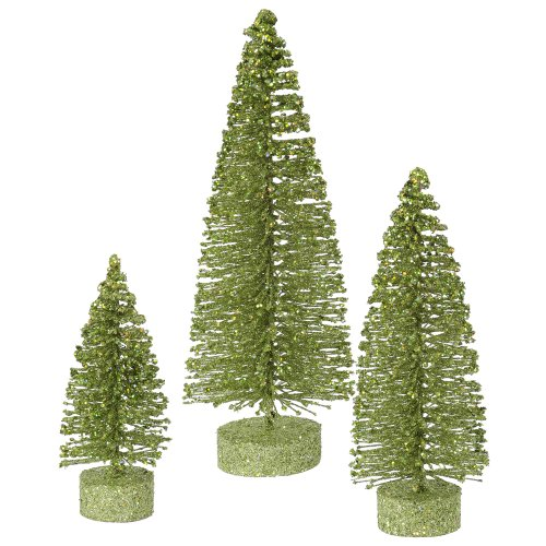 Set of 3 Lime Green Glittered Bottle Brush Artificial Christmas Tree Decorations