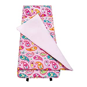 Wildkin Kids Children School Home Camping Hiking Sleep Bag Paisley Nap Mat Pink