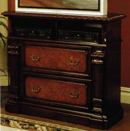 Cheap TV Dresser Stand with Hand Carved Accents in Chestnut Finish (VF_201207)