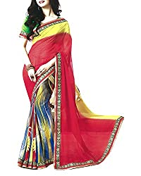 Yug Bansal Women's Multi-Coloured Chiffon Saree