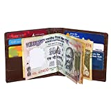 STYLE98 Leather Credit Card Holder & Money Clip Wallet For Men and Women - Brown