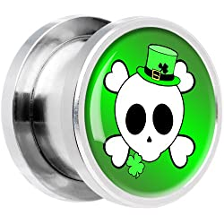 7mm- Steel St. Patty's Skull and Crossbones Screw Fit Plug