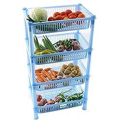 NOVICZ 4 Layer Kitchen Rack Stand Fruits Vegetable Rack Storage Household Office Rack Storage Stand -Blue