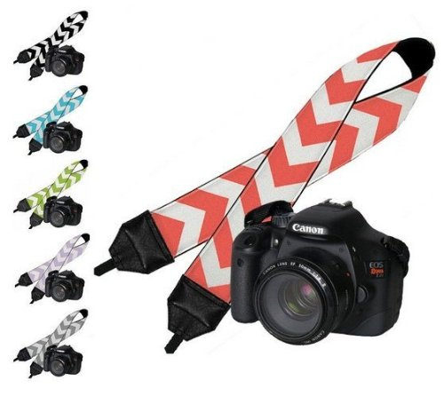Camera Strap for DSLR Cameras, Nikon, Cannon, Panasonic, Pentax and Sony Cameras (Multi) Gray and White Chevron Design