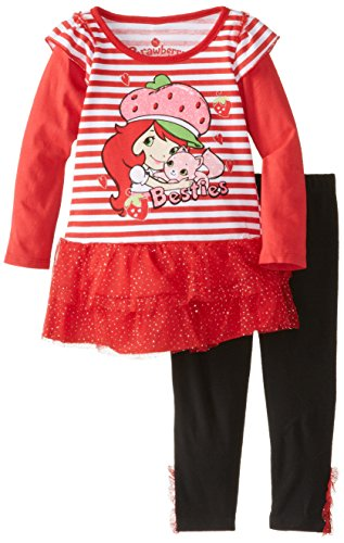 Strawberry Shortcake Little Girls' 2 Piece Stripe Long Sleeve Legging Set, Chinese Red, 3T front-680260