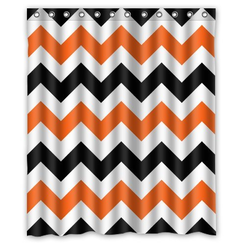 Orange and Black Chevron Best Shower Curtain