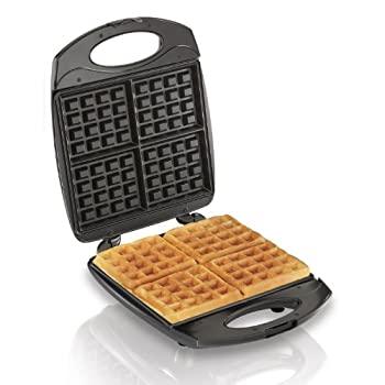 Enjoy delicious fluffy waffles with the Hamilton Beach Belgian Style Waffle Baker. Made of premium stainless steal and nonstick grids, it's designed to make perfectly baked waffles every time. It's compact design makes for easy storage when not in us...