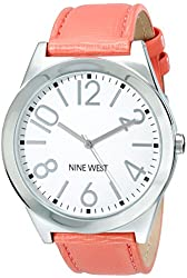 Nine West Women's NW/1661WTCO Silver-Tone Watch with Coral-Tone Strap