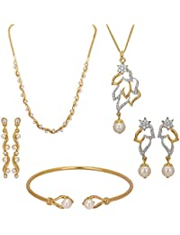 Hashtag Real Gold Plated Alloy Necklace And Pendant Set For Women