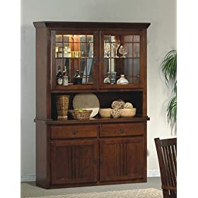 Mission Style Solid Wood China Cabinet Buffet Hutch