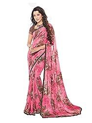 PShopee Pink Weightless Designer Poonam Chiffon Saree with Blouse Piece