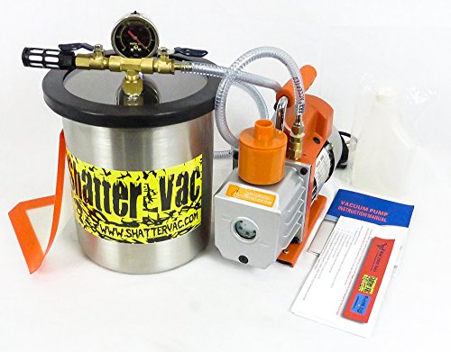Shatter Vac 1.5 Gallon Vacuum Chamber and 3 CFM Single Stage Vacuum Pump Kit (Vacuum Purge Kit compare prices)