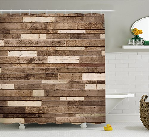Wooden Shower Curtain Set by Ambesonne, Wall Floor Textured Planks Panels Picture Art Print Grain Cottage Lodge Hardwood Pattern, Fabric Bathroom Decor with Hooks, 84 Inches Extra Long, Brown (Wood Tub Plank compare prices)