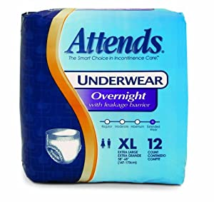 Attends Overnight Protective Underwear, X-Large, 12 Count (Pack of 4)