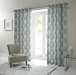 Forest Trees Duck Egg Blue White 46x90 Ring Top Lined Curtains #seertdnaldoow *cur* by Curtains